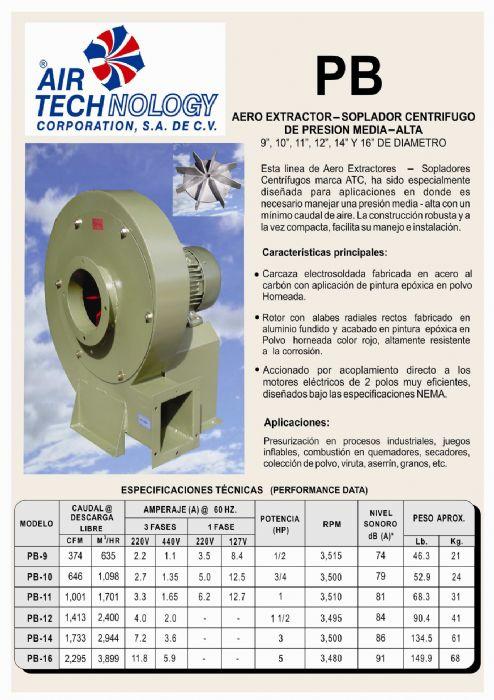 AERO EXTRACTOR-SOPLADOR CENTRIFUGO DE PRESION MEDIA-ALTA..